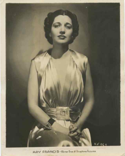 Warner Brothers publicity still of Kay Francis dated 1938.
