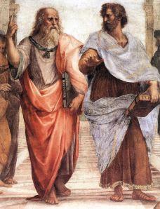 Raphaël - Détail de la fresque de l'Ecole d'Athènes - Platon (-427, - 346) à gauche et Aristote, à droite