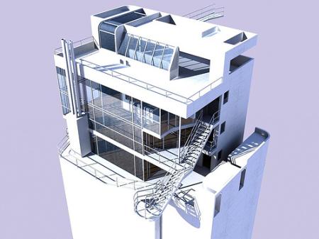Douglas House - vue axonométrique