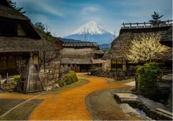 me Mont Fuji vu d'un village voisin