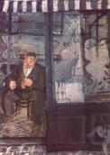 Derkovits Gyula - Le cercueil Commerçant Rich, 1928