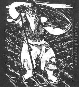 Derkovits Gyula - Dozsa Sorozat, le paysan, 1928