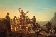 George Caleb Bingham - Jolly Flatboatmen in Port, 1857
