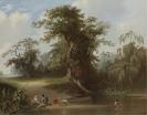 George Caleb Bingham - Landscape, rural scene, 1845