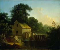 George Caleb Bingham - Landscape with Waterwheel and Boy Fishing, 1853