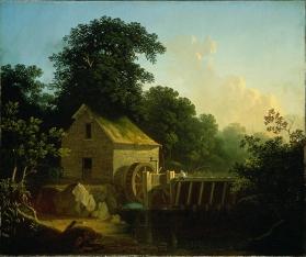 George Caleb Bingham - Landscape with Waterwheel and Boy Fishing, 1853