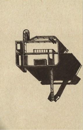 Richard Meier - Douglas house - plan de toiture avec passerelle