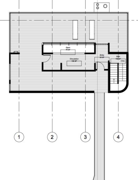 Richard Meier - Douglas House - niveau  supérieur d'entrée