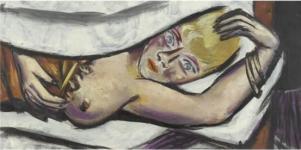 Max Beckmann - frau im bett, 1932