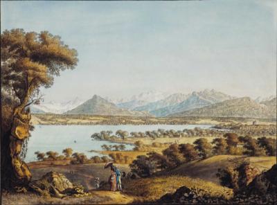 Jean-Antoine Linck - Vue du Mont-Blanc et d'une partie de Genève,