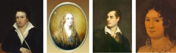 Percy et Mary Shelley, Byron et Claire Clairmont