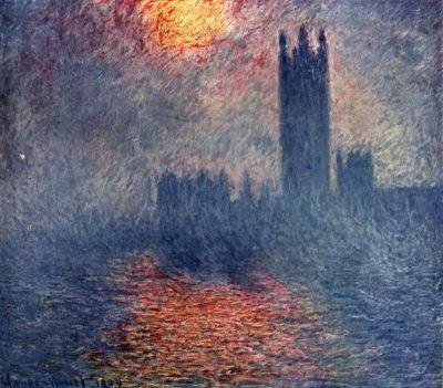 Claude Monet - Trouée de soleil dans le brouillard, Maison du parlement à Londres, 1904
