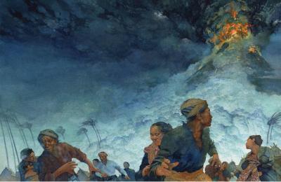 Eruption du Tambura - illustration Greg Harlin