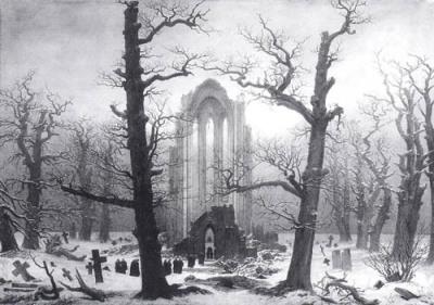 Caspar David Friedrich - Cimetière d'un cloître dans la neige, 1817