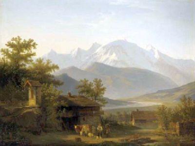 Francois Diday - Le Mont Blanc et l'Arve vus de Sallanches