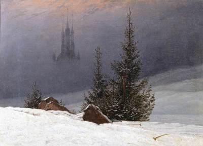 """Caspar David Friedrich - Paysage d'hiver avec église,"""" 1811"""