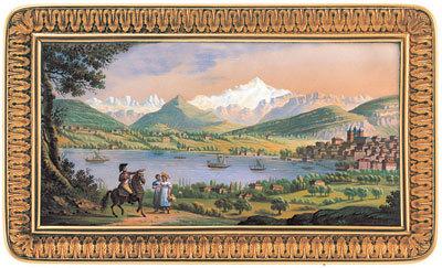 Vue de Genève et Mont-Blanc depuis Pregny, vers 1815/1820 - émail signé J-L Richter et A-J Troll.