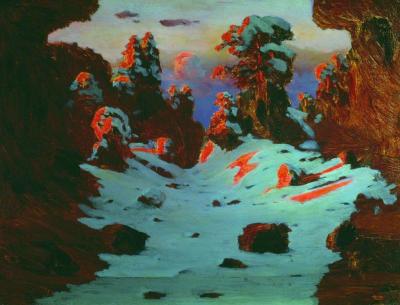 Arkhip Kuindzhi - lever de soleil en forêt, vers 1890