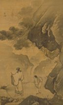 Chang Lu - a poet contemplating a waterfall, c. 1525