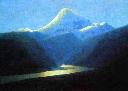 Arkhip Kuindzhi - le mont Elbrouz au lever du soleil, vers 1908