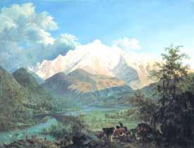 Pierre-Louis de la Rive - Le Mont-Blanc vu de Sallanches au coucher du soleil, 1802