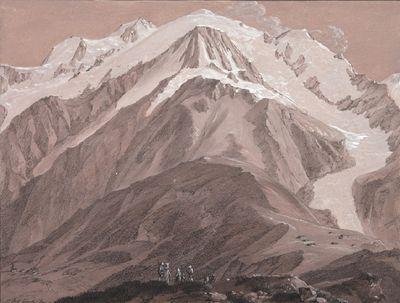 ean-Antoine LINCK - Le Mont-blanc, vu du Prarion Fusain, encre et gouache sur papier teinté rose - 19,7 x 25,7 cm ©cliché Alain Bexon