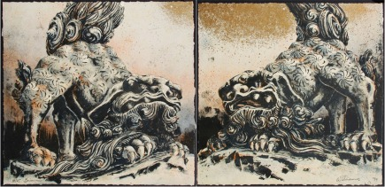 Brian WILLIAMS (b . 1950) - Shishi (Lion dogs) diptych
