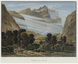 Samuel Birmann (suisse, 1793-1847) - Gorge de Cluse colorisée, 1826