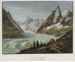 Samuel Birmann (suisse, 1793-1847)  - La Mer de Glace vue de Montanvert coloriés, 1826