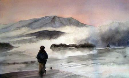 Evelyn Dunphy - Morning mist rises between Trout Mountain and Katahdin