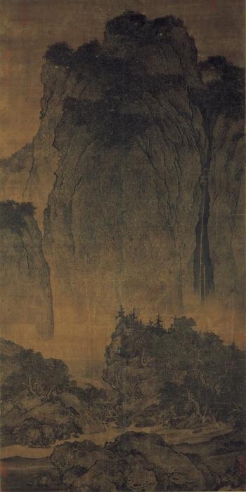 Fan Kuan - Voyageurs traversant montagnes et torrent, entre 1000 et 1020 - Google Art Project