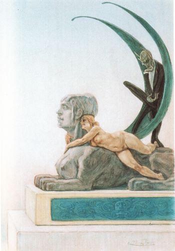 Félicien Rops (1833-1898) - Le Sphinx, entre 1878 et 1881