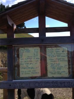 le menu du chalet La Froulaz au-dessus du col des Nantets (IMG_4192) - photo Enki