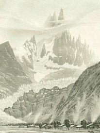 Samuel Birmann (suisse, 1793-1847) - Glacier des Bois (détail), 1830