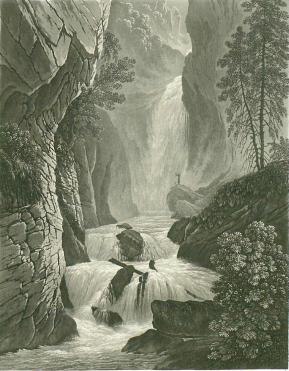 Samuel Birmann (suisse, 1793-1847) - La cascade du Bonnat derrière les Bains de Saint Gervais, 1830