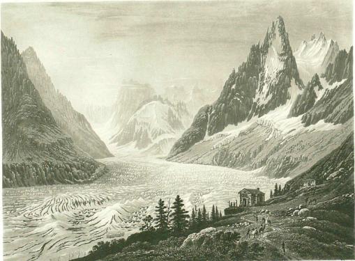 Samuel Birmann (suisse, 1793-1847)  - La Mer de Glace vue de Montanvert, 1830
