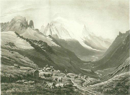 Samuel Birmann (suisse, 1793-1847)  - Le Chamonix vu du col de Balme, 1826