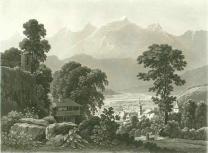 Samuel Birmann (suisse, 1793-1847) - le Mont Blanc vu de Sallenche, 1830
