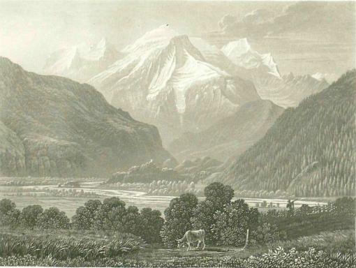 Samuel Birmann (suisse, 1793-1847)  - le Mont Blanc vu de Servoz, 1830