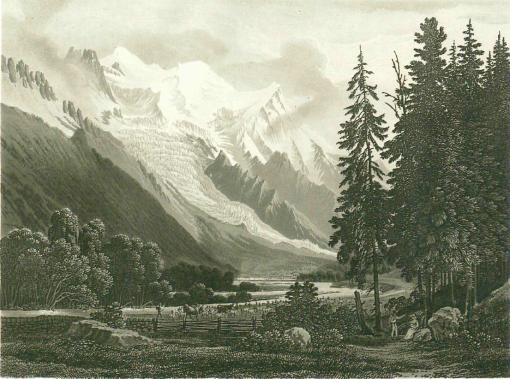 Samuel Birmann (suisse, 1793-1847)  - Le Prieuré et le Mont Blanc, 1830