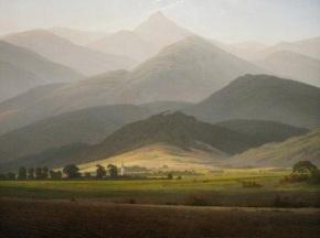 Caspar_David_Friedrich_-Gebirgslandschaft (Blick von Warmbrunn auf die Kleine Sturmhaube), années 1810