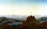 Caspar_David_Friedrich_-Matin dans les Monts des Géants aussi La croix au-dessus des rochers ou Région dans la brume du matin avec un crucifix, vers 1810-11