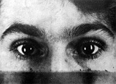 montage réalisé par Man Ray sur un frottage de Max Ernst - les yeux de Gala, 1925