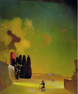 Salvador Dali - paysage avec éléments énigmatiques, 1934