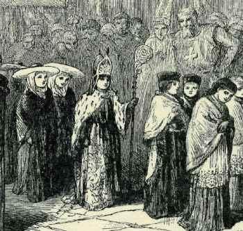 19ème siècle représentation d'un garçon évêque médiévale, en présence de ses canons