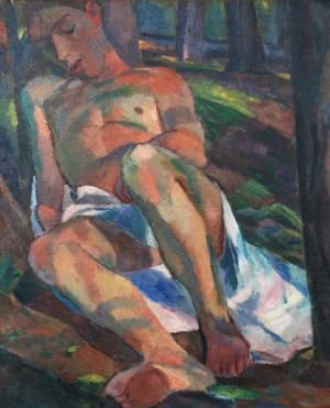 Albert Weisgerber - Schlafender Knabe im Wald, 1912