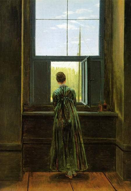 Caspar David Fiedrich - femme à la fenêtre 1822 - Caroline Friedrich dans l'atelier de Dresde sur lo'elbe