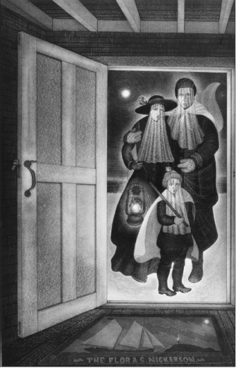 Mummer family at the Door, 1985 - Courtesy of David Blackwood