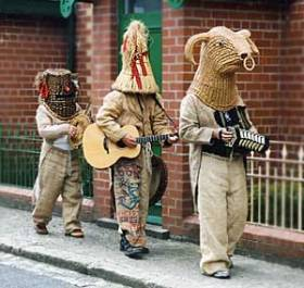 Mummers performing in the Mayday celebrations in the Ulster Folk