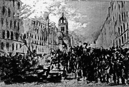David Octavius Hill - croquis sur le vif de la High Street en feu avec le clocher de la Cathédrale Saint Giles, 1824